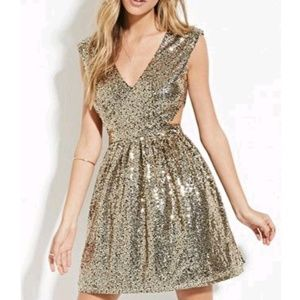 Forever 21 shimmering gold dress with cutouts